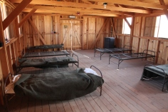 Open quarters inside one of the barracks at Manzanar