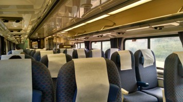 Coach seating on the Pacific Surfliner