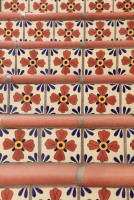 Detail of ceramic tiles on stairs