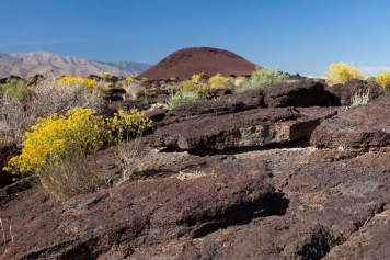 Volcanic cone and rocks at Fossil Falls