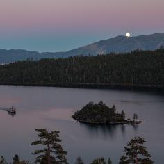 Moonrise over Emerald Bay, Lake Tahoe