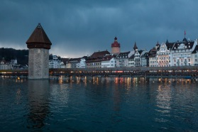 The Kappelbrücke with approaching storm. My hotel, the Hotel des Alpes, is on the far right side with the flagpole on the top.
