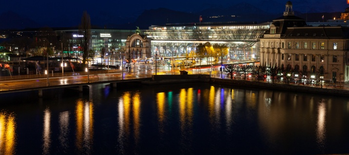 The Luzern train station and convention center at night from the balcony in my hotel room.