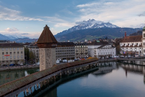 The Kappelbrücke in Luzern with Mt. Pilatus in the background. Taken from the balcony in my hotel room.