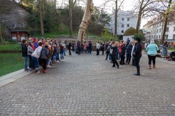 Tour groups at the Löwendenkmal, Luzern, Switzerland