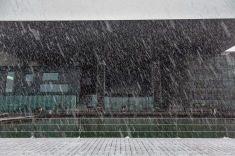 Snowing at the convention center in Luzern in April