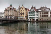 Luzern skyline along the Reuss River.