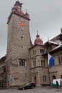 The clock tower at Luzern's city hall.