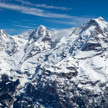 From left to right, the Eiger, Mönch, and Jungfrau mountains.