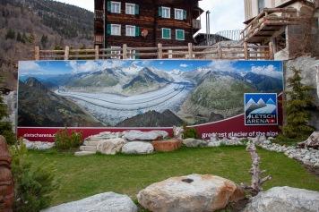 A billboard showing the Aletsch Glacier in summer.